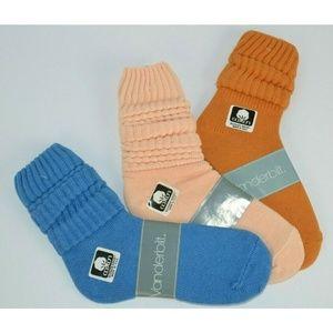 Vtg 1980's Lot of 3prs 100% Cotton Slouch Socks